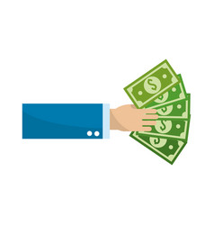 hand with green bill money vector image