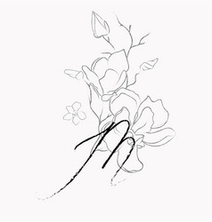 Handwritten line drawing floral logo monogram m vector