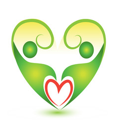Healthy green abstract heart logo vector
