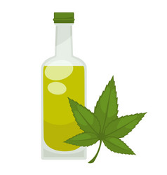 hemp oil in bottle flat isolated icon vector image