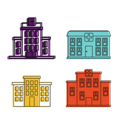 hospital icon set color outline style vector image