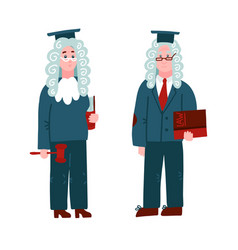 judge in a wig - man and woman character set vector image