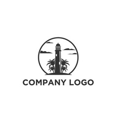 lighthouse logo designs with palm trees vector image
