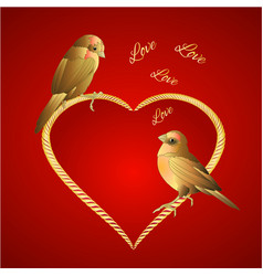 little golden birds and hearts valentines vector image