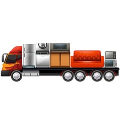 Lorry loaded with furnitures and appliances vector