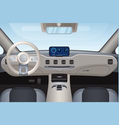 Luxurious beige car interior vector