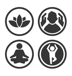 massage spa and yoga center icons set logo on vector image