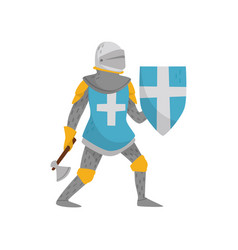 Medieval armored knight warrior character holding vector