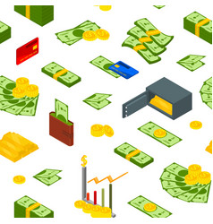 money signs seamless pattern background isometric vector image