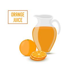orange juice transparent glass jar orange vector image