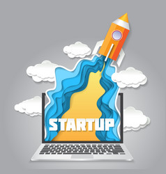 paper art startup new business launch vector image