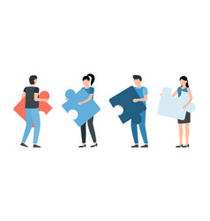 people connecting puzzle elements teamwork vector image