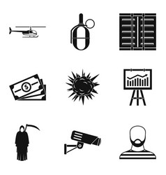 Perpetrator icons set simple style vector