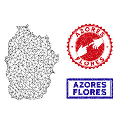 Polygonal mesh flores island azores map and vector