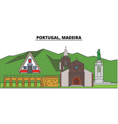 Portugal madeira city skyline architecture vector