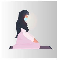 religious muslim woman praying ramadan kareem holy vector image