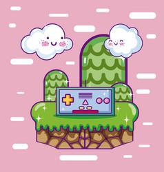 Retro videogame scenery cartoons vector