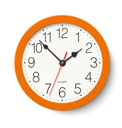 Round wall clock with orange color body isolated vector