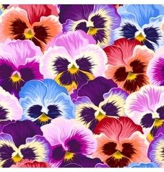 Seamless varicolored pansies vector