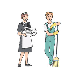 Service personnel maid woman and janitor man in vector