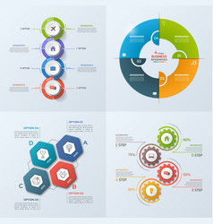 set of 4 infographic templates with 4 options vector image