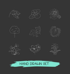 set of flora icons line style symbols with vector image