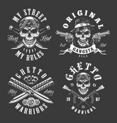 set of gangster emblems vector image