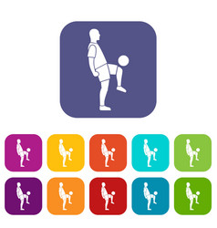 Soccer player man icons set flat vector