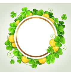 St Patricks Day banner with green clover vector image