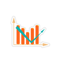 stylish sticker on paper chart and coins vector image