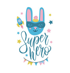 super hero bunny cute baprint sweet rabbi vector image