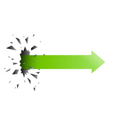 the arrow pierced through the wall vector image