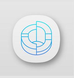 Three-dimensional diagram app icon 3-space ring vector