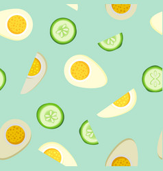 Tiling seamless background with bright food vector
