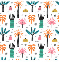 tropical beach palm trees seamless pattern vector image