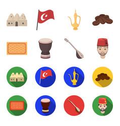 Turkish carpet saz drum turkish menturkey set vector