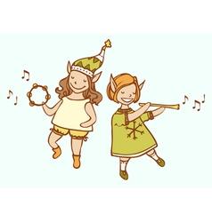 Two Christmas elf musician dance vector