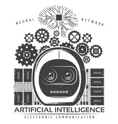 vintage artificial intelligence label template vector image