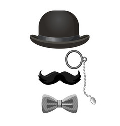 Vintage gentleman set in black and grey colors vector