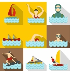 Water exercise icons set flat style vector