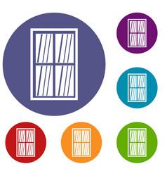 White latticed rectangle window icons set vector