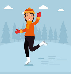winter sports happy people cartoon vector image