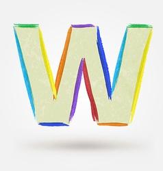 Alphabet letter W Watercolor paint design element vector image vector image