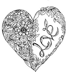 doodle heart with pattern of flowers vector image vector image