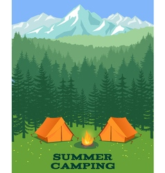 Forest camping Tourist tent on glade vector image vector image