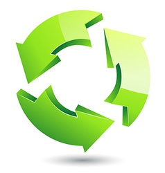 green recycle symbol on isolated white background vector image