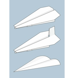 set of paper airplanes origami vector image