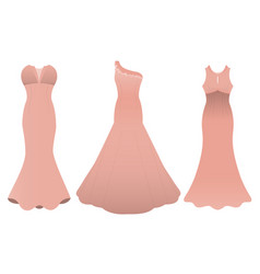 set of three evening cocktail dresses color of vector image vector image