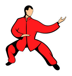 wushu fighter icon cartoon vector image