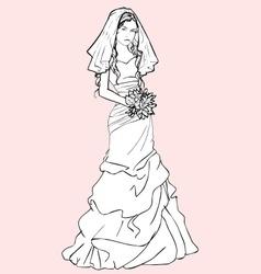 bride with a wedding bouquet vector image vector image